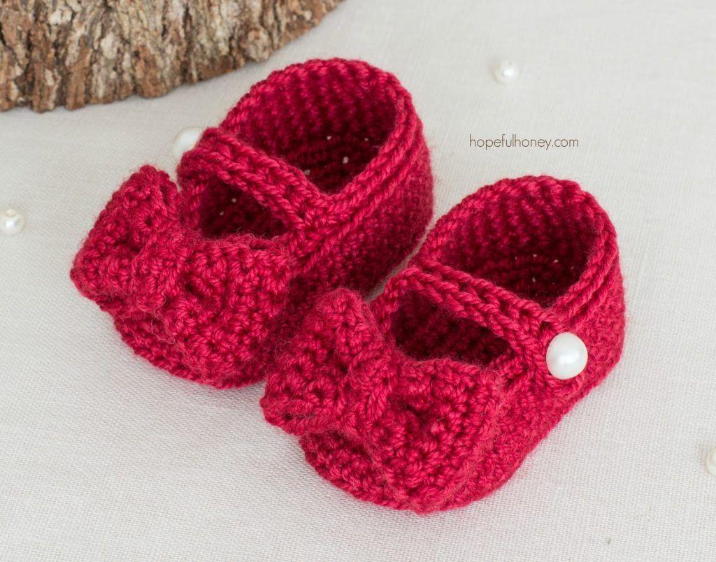Ruby Red Mary Jane Booties - Free Crochet Pattern | Patrón de ...
