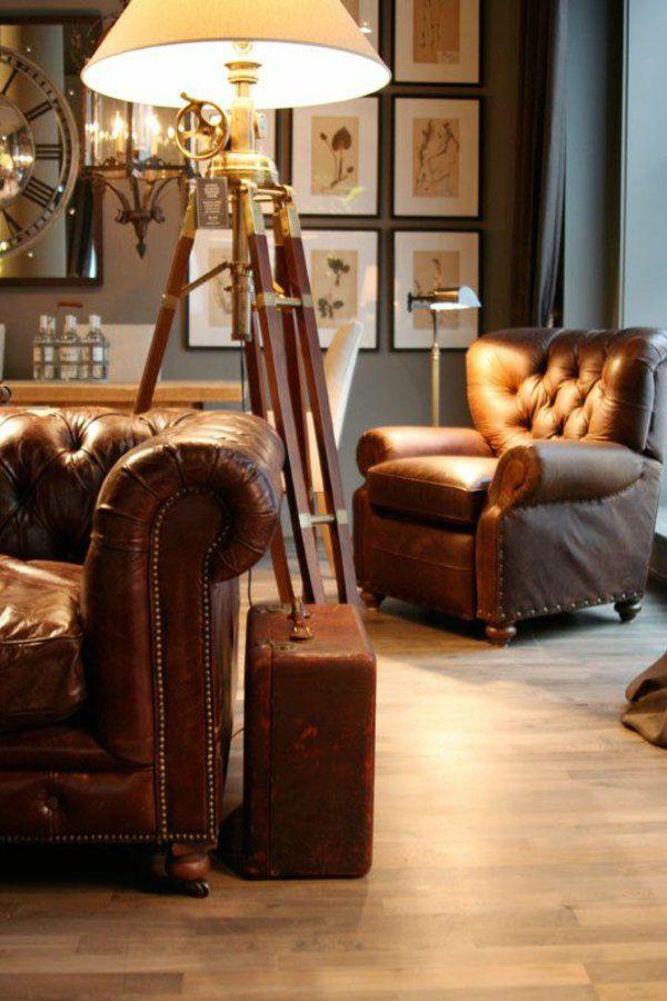 Chesterfield einrichtung  einrichtung wohnzimmer im kolonialstil bodenlampe | Manly man ...