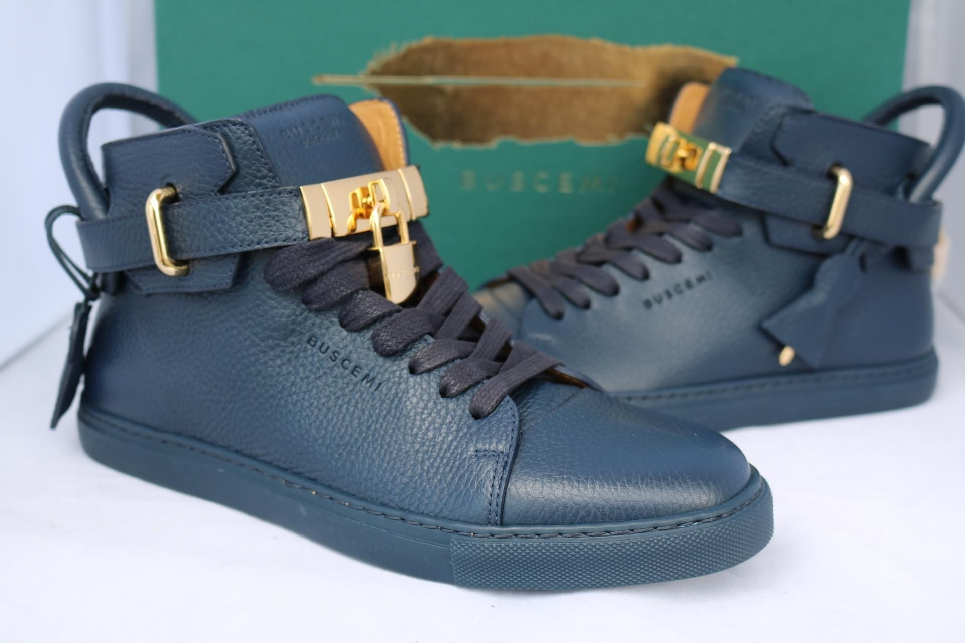 1f1088485a0 Buscemi Mens 100mm Gold Locks Lock High Top Tops Sneakers 40  Us 7 Blue  Athletic Shoes. Get the must-have athletic shoes of this season!
