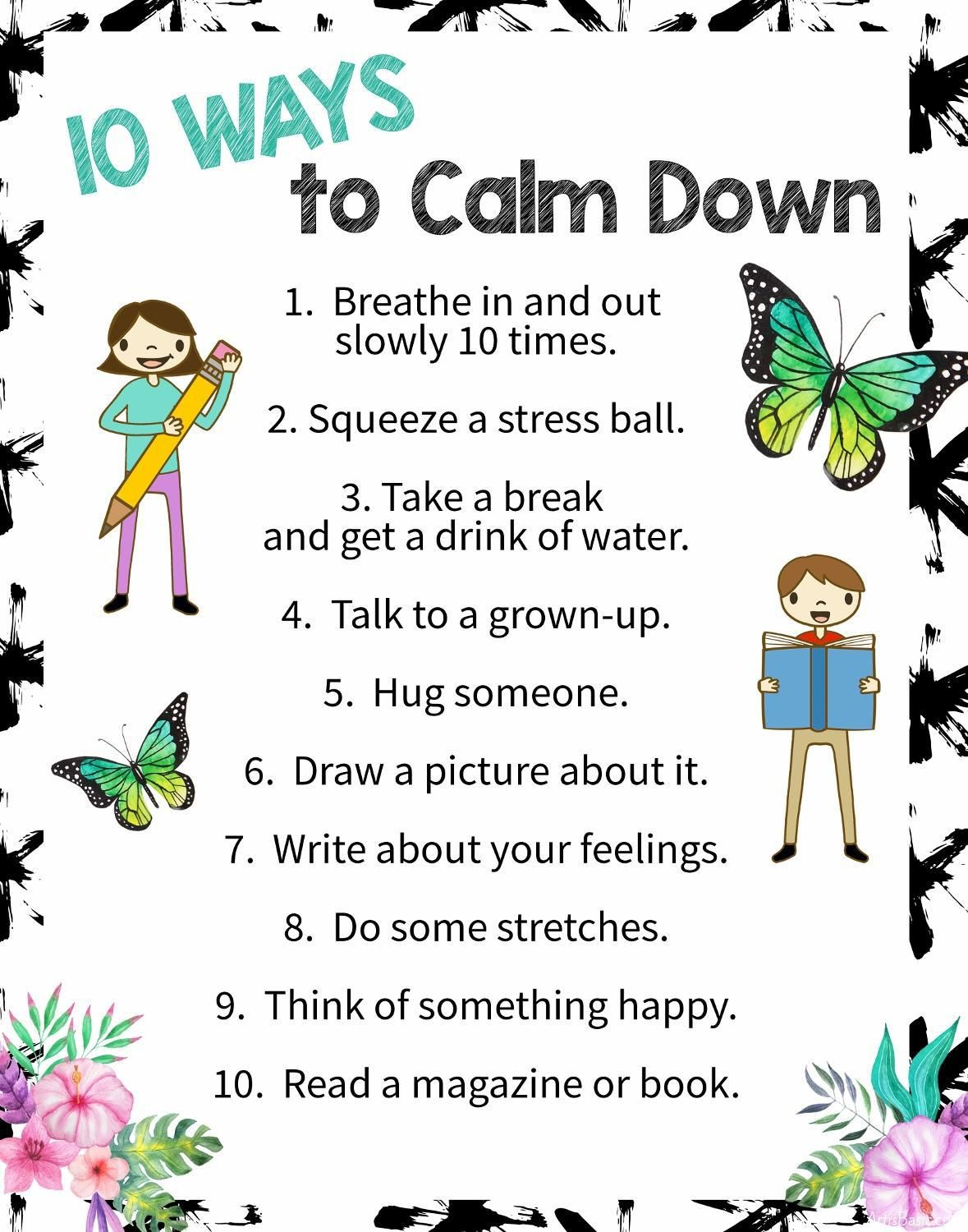 10 Ways To Calm Down A Free Printable Poster