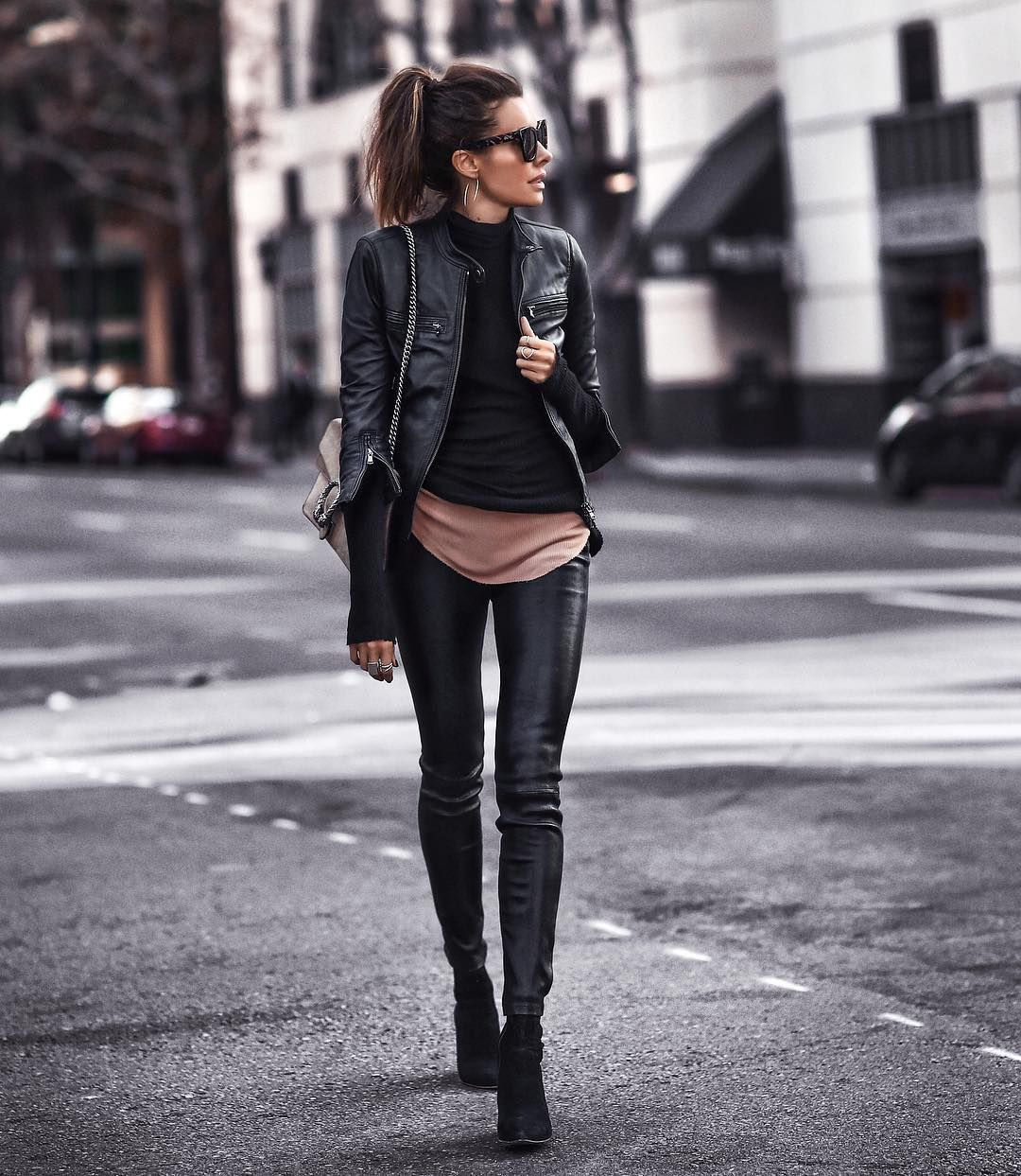 Never Too Much Leather Fashioned Chic Outfits With Leggings Leather Leggings Outfit Club Outfits For Women [ 1243 x 1080 Pixel ]
