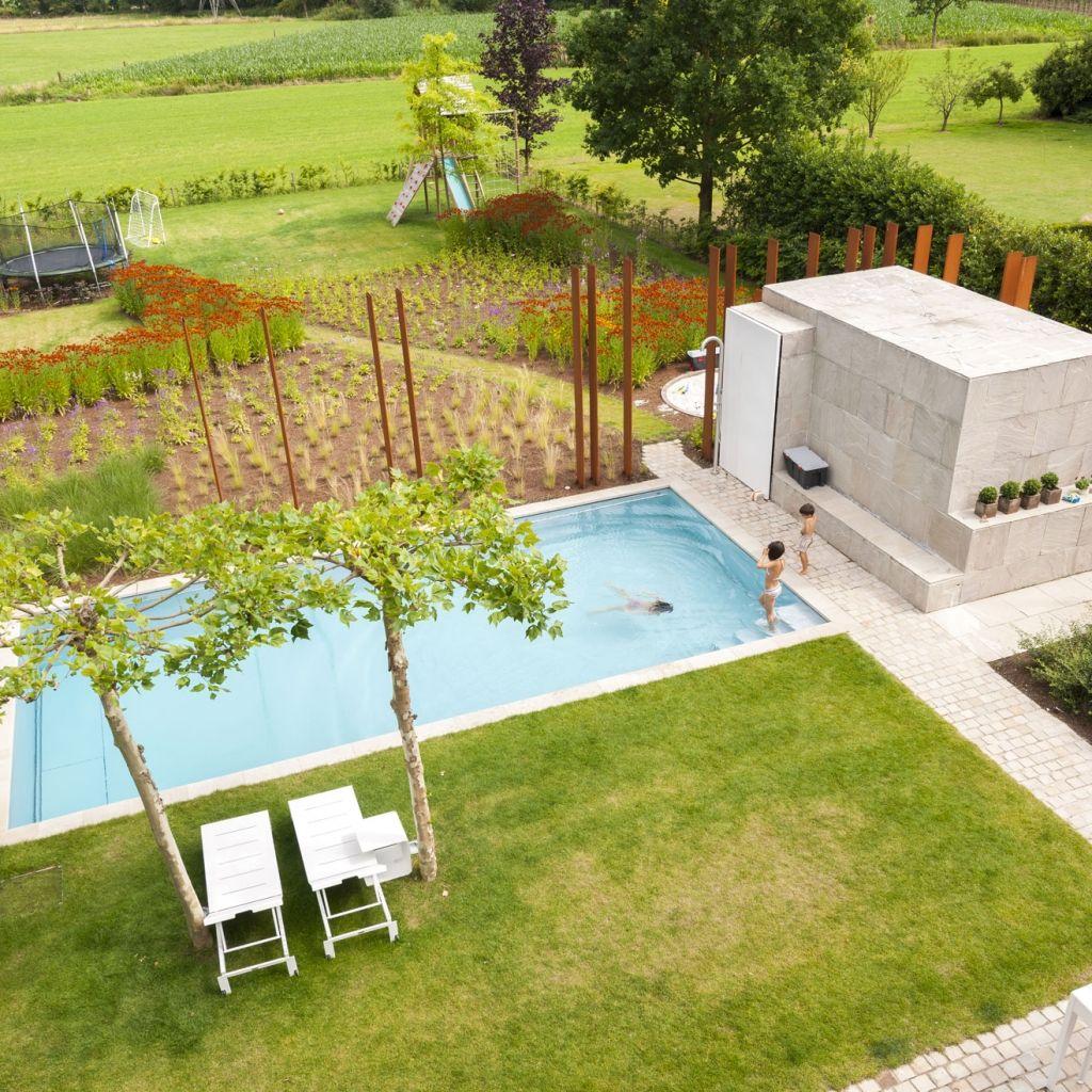 Good rechteck poolgestaltung im garten hohe pflanzenbeete Pool und Garten Pinterest Saunas