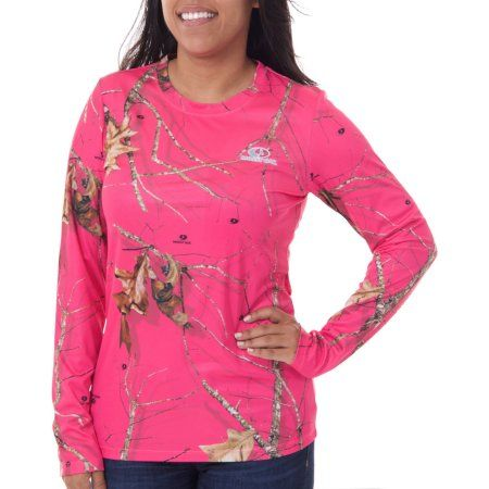 Realtree and Mossy Oak Women's Long Sleeve Camo Performance Tee, Pink