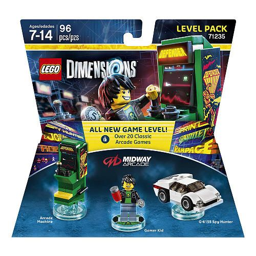 LEGO® Dimensions ™ Midway Arcade™ Level Pack - Rebuild G-6155 Spy Hunter into The Inter diver & Aerial Spy hunter. Rebuild the Arcade Machine into an 8-Bit Shooter and The Pixilator Pod.<br><br>The LEGO Dimensions Midway Arcade Level Pack Features:<br><ul><li>Your favorite Midway Arcade™ characters escaped their games & Gamer Kid needs help putting them where they belong! Build Gamer Kid, attach him to LEGO® Toy Tag & place him on the LEGO® Toy Pad to see him come ...