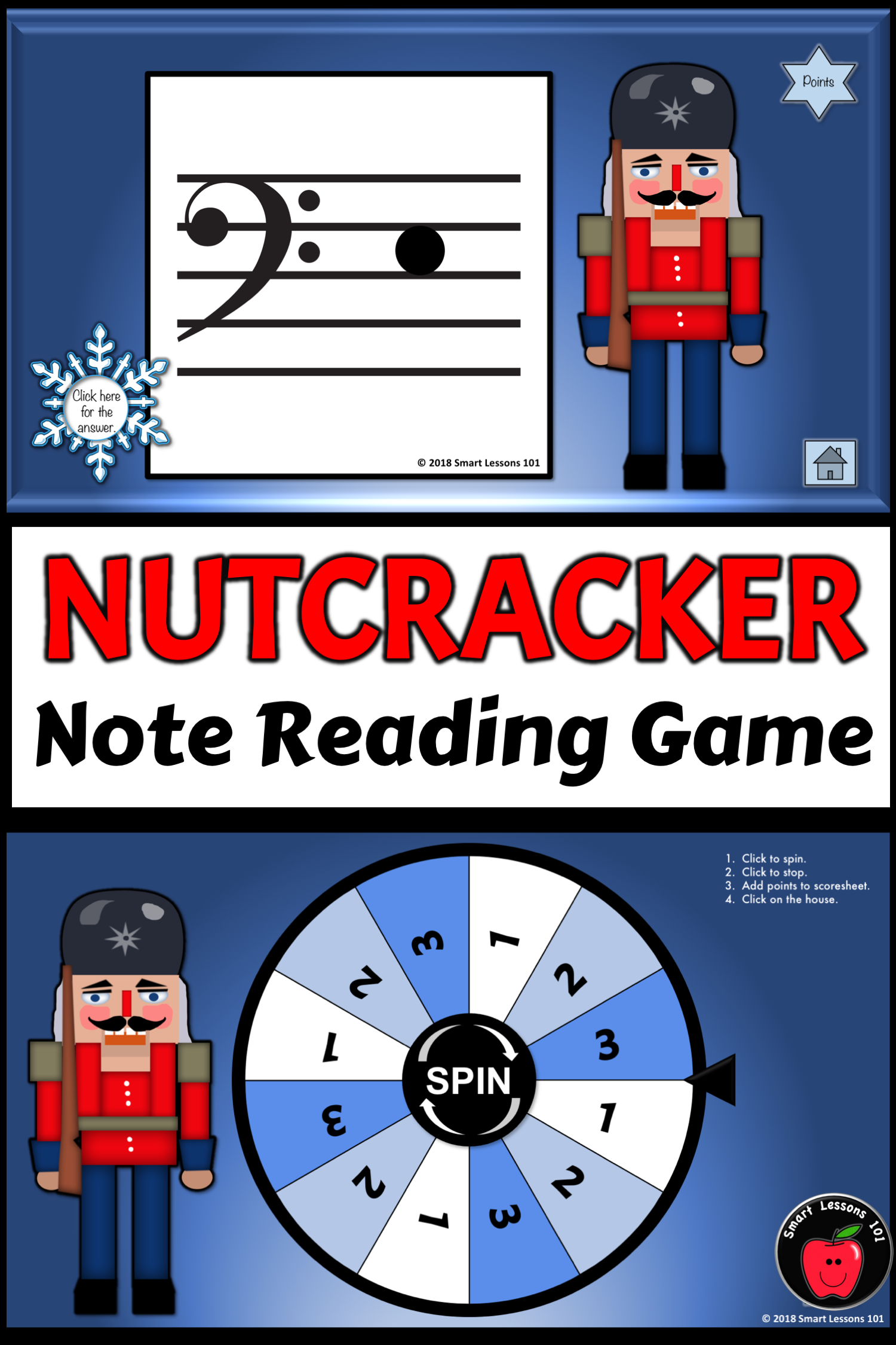 Christmas Music Game Nutcracker Bass Clef Note Reading