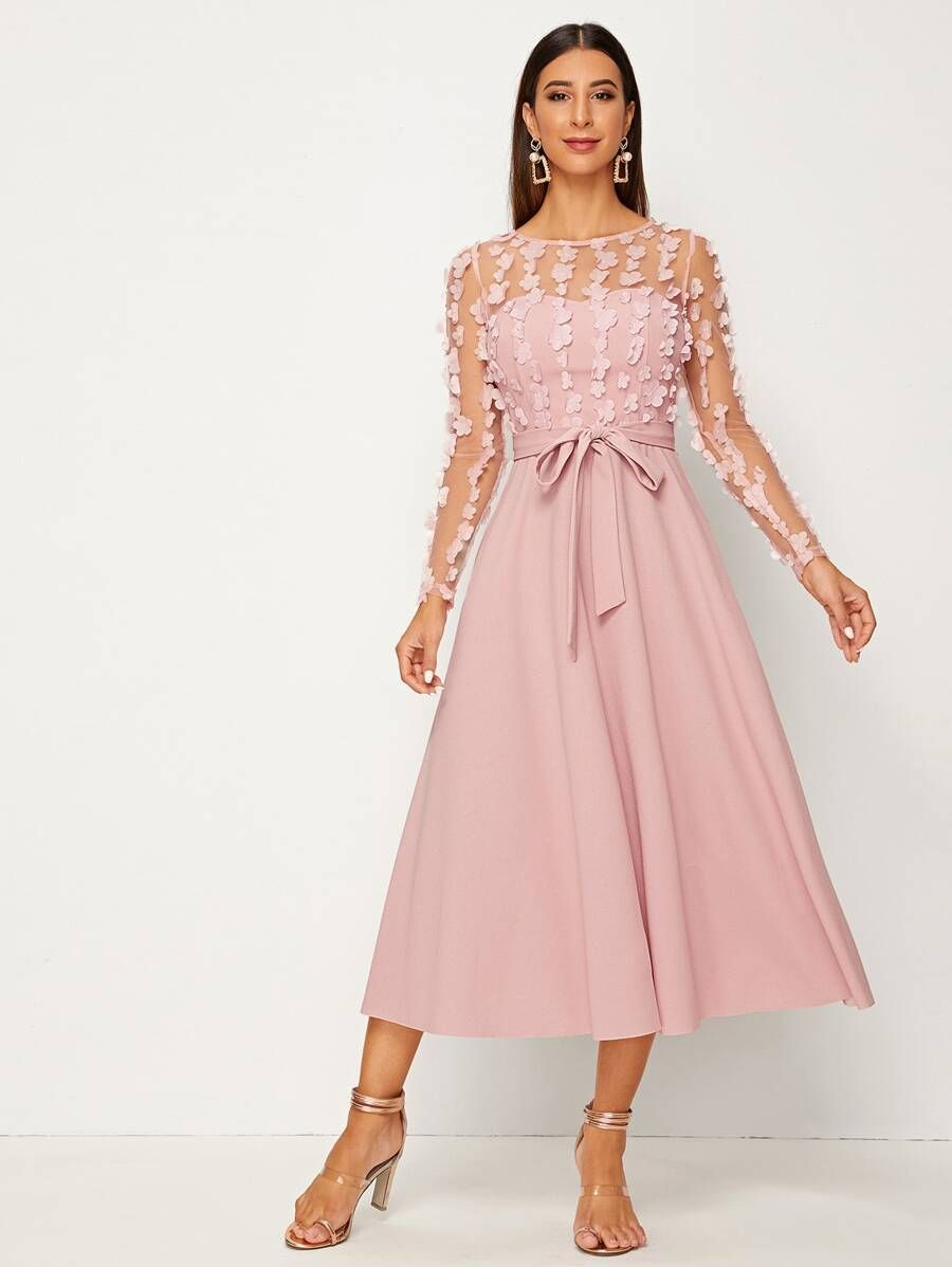 3d applique mesh overlay sweetheart neck self belted dress
