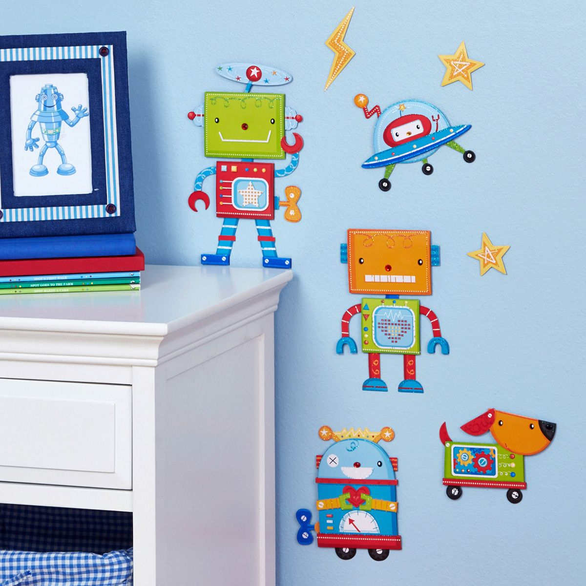 WALL STICKERS - ROBOT & SPACESHIP bed bath and table