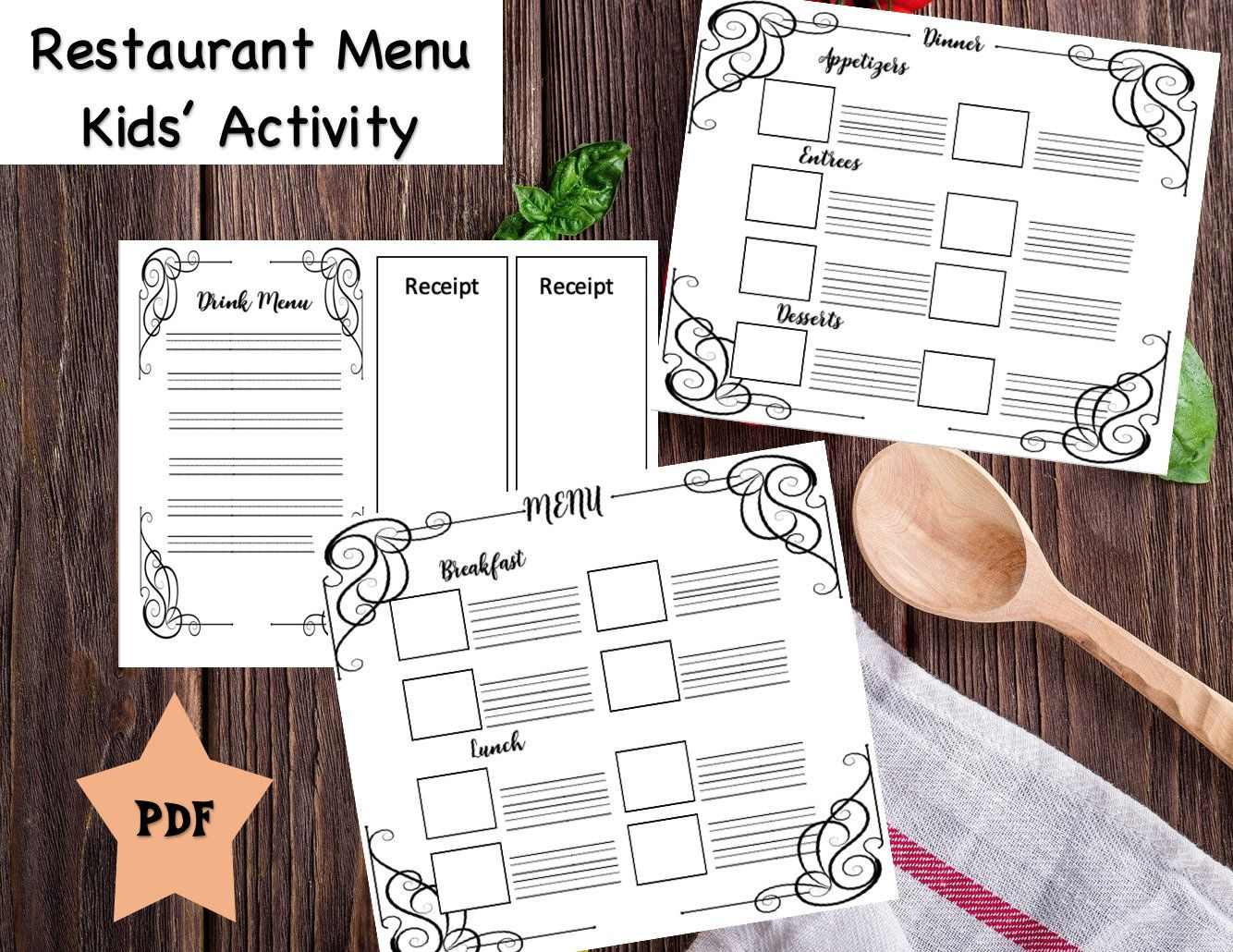 Restaurant Menu And Receipt Template Great Creative Writing Etsy In 2021 Creative Writing Activities Creative Writing Childrens Reward Charts