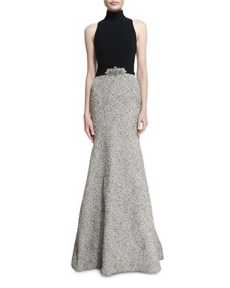 ffcddf53f1f Mock-Neck Sleeveless Mermaid Gown by Theia at Neiman Marcus.