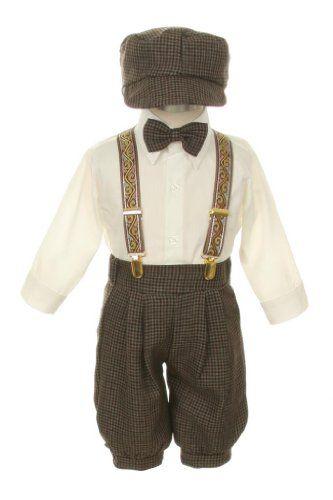 Vintage Dress Suit-Bowtie,Suspenders,Knickers Outfit Set for Boys