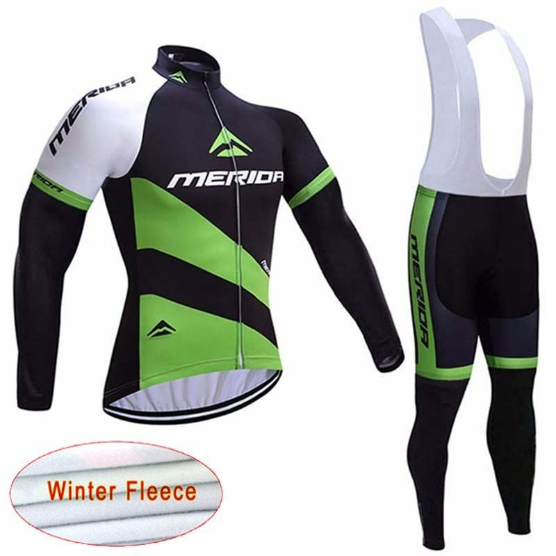 2018 MERIDA Winter Thermal Fleece Long Sleeves Cycling Jersey Ropa Maillot  Ciclismo Bicycle MTB Bike Bib Long Pants Set D0904 0b2e99ae1