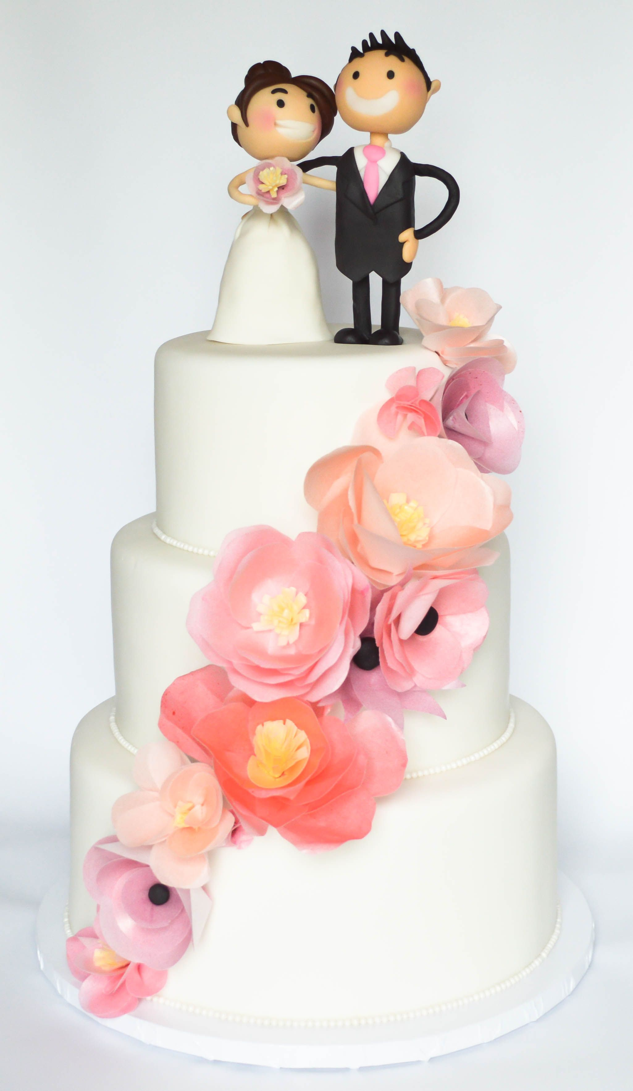 wafer paper flowers wedding cake with custom fondant bride and groom ...