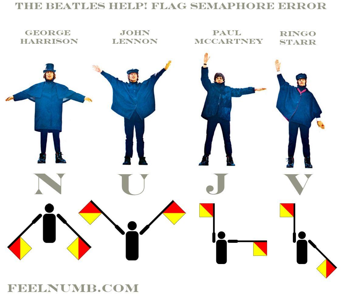 The Beatles Help! (NUJV!) Album Flag Semaphore Error | FeelNumb com