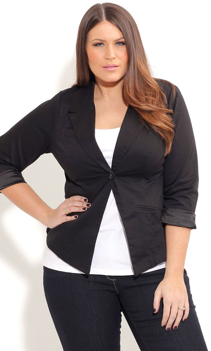 54ac488039f City Chic SWEET ONE BUTTON JACKET- Women s Plus Size Fashion