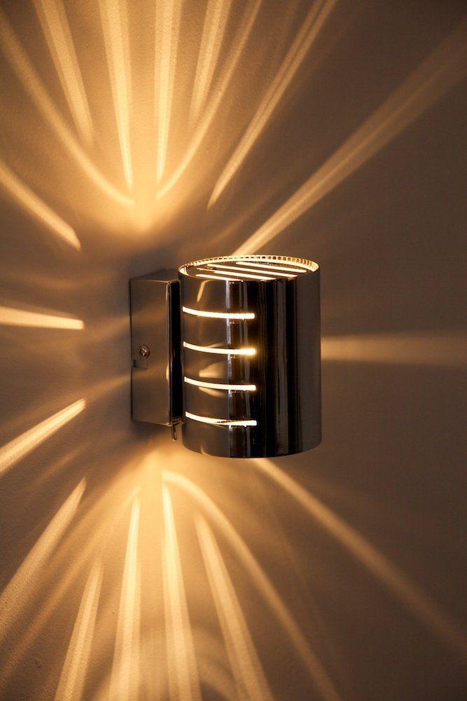 Wandleuchte Ponte In Chrom Wand Lampe Mit Tollen Licht Und Schatteneffekten Wohnzimmer Wandlampe Mit Sternformigem Lichteinfa Wandleuchte Flurlampen Lampen