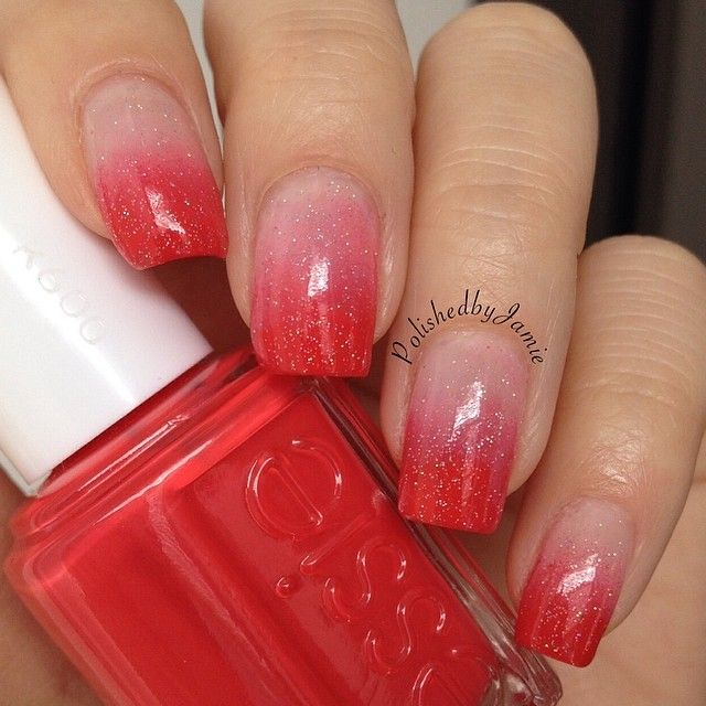 red ombre glitter nails #nail #nails