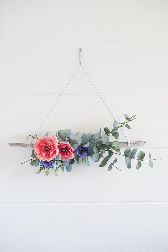 Photo of Modern summer driftwood and poppy wreath || Spring wreath || Summer wreath || Front door wreath | Green wreath || Triangular wreath