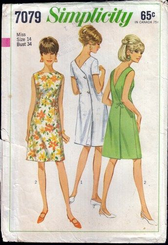 Simplicity 7079 Misses One Piece Back Wrap Dress 10 1960s Madmen Fashion The Collarless Back Wrap D Wrap Dress Pattern Sundress Pattern Simplicity Dress
