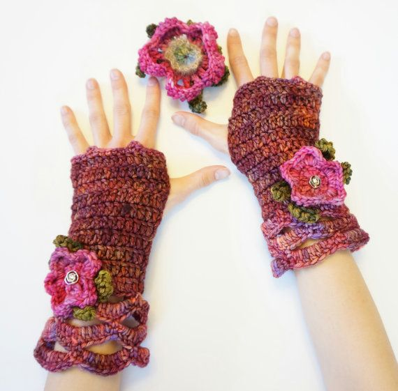 Wild Rose Fingerless gloves, Pink/Purple hand warmer, Knit, Crocheted Glove, wild rose, cuff, other colours also available, Lace hand warmer