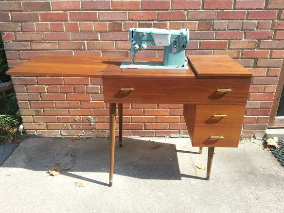 HOLD)Mid century mod desk & Singer sewing machine | Sewing cabinet ...