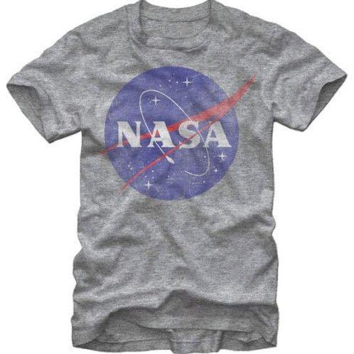 Design Männer t-shirt NASA Logo Distressed herren Grau Meliert T-Shirt  kurzarm 100