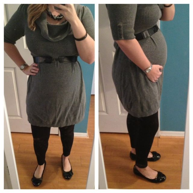 8f64688d0a551 20 weeks - Cowl neck sweater dress with tights and ballet flats. Belt to  accent the bump.