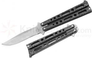Benchmark Balisong Butterfly Knife 4 inch Clip Point Blade, Silver Vein Handles