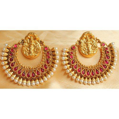 7188a14c763 Goddess inspired chaand bali or earrings. Ruby