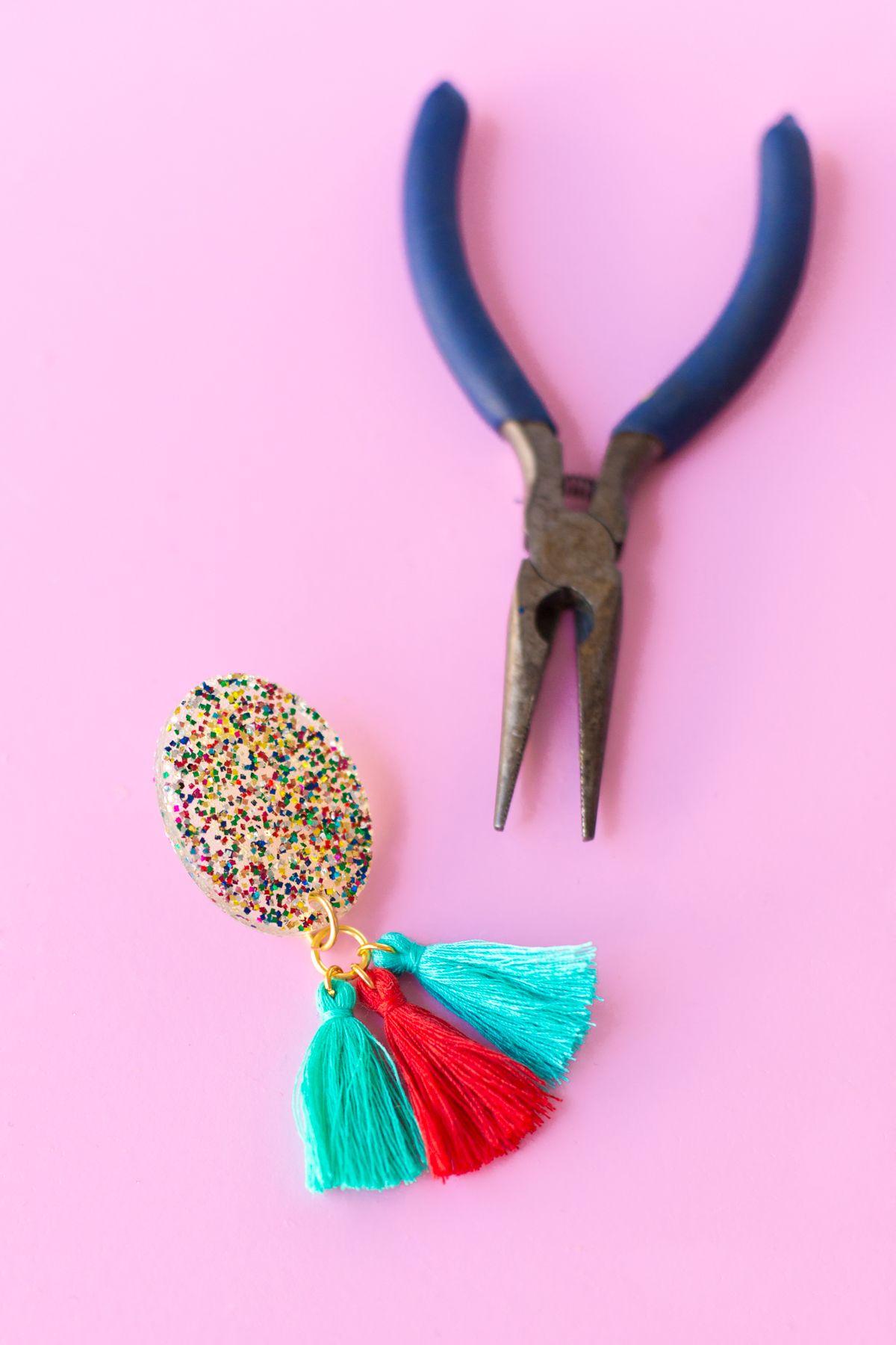diy glitter tassel earrings | tassel earrings, tassels and glitter
