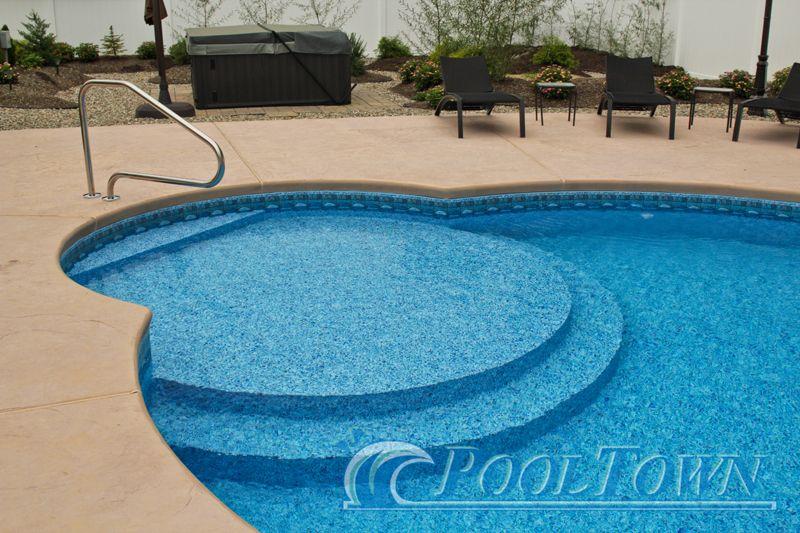 Circle Sunbathing Stairs In Pool Town In Ground Pool Inground Vinyl Pools Pinterest Kid