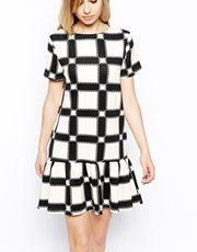 9bcf1894e04 ASOS Peplum Dress in Check Print - Did someone say  monochrome  http