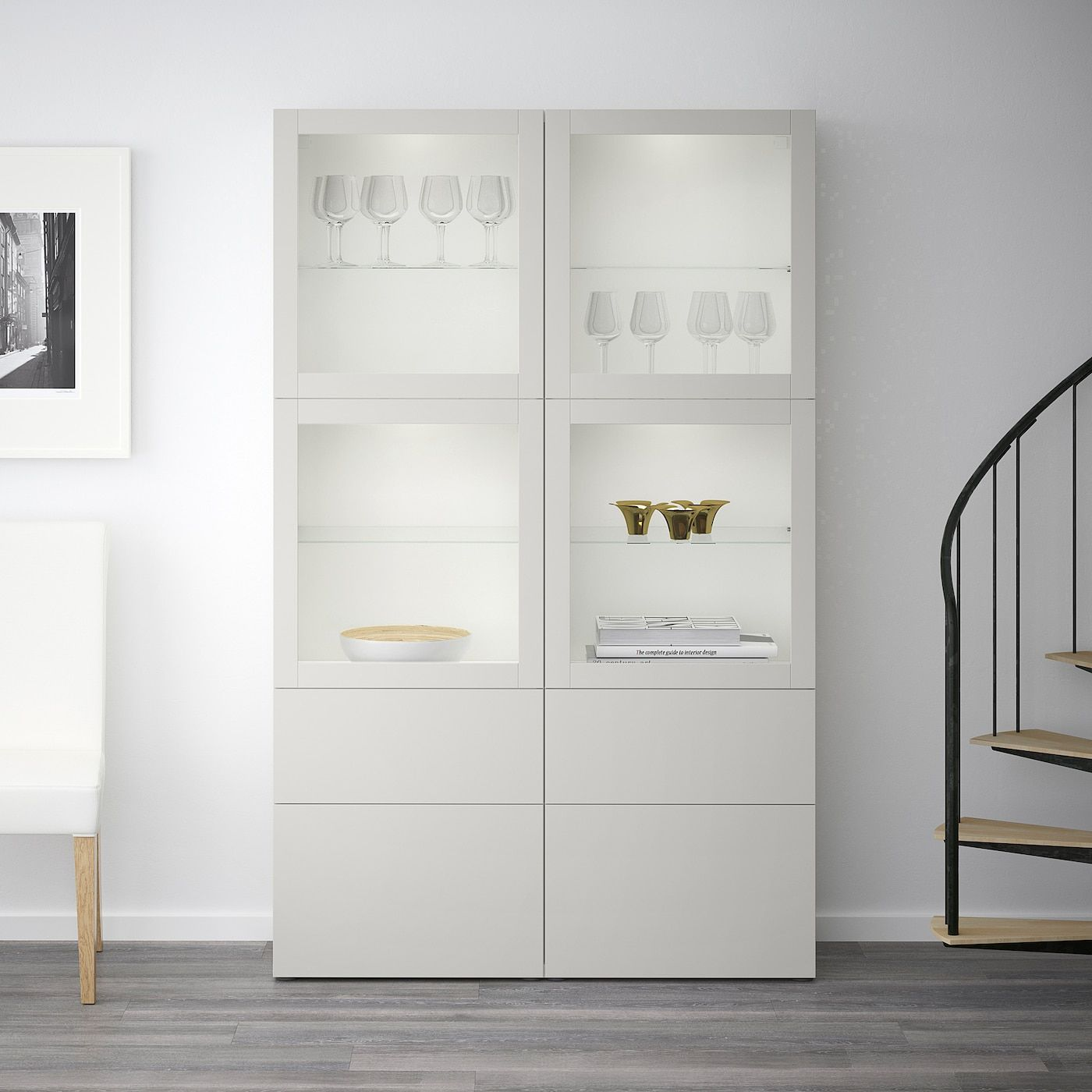Besta Storage Combination W Glass Doors White Sindvik Lappviken Light Grey Clear Glass 120x40x192 Cm Get It Today Ikea In 2020 Vitrine Weiss Glasregal Sideboard Weiss Hochglanz