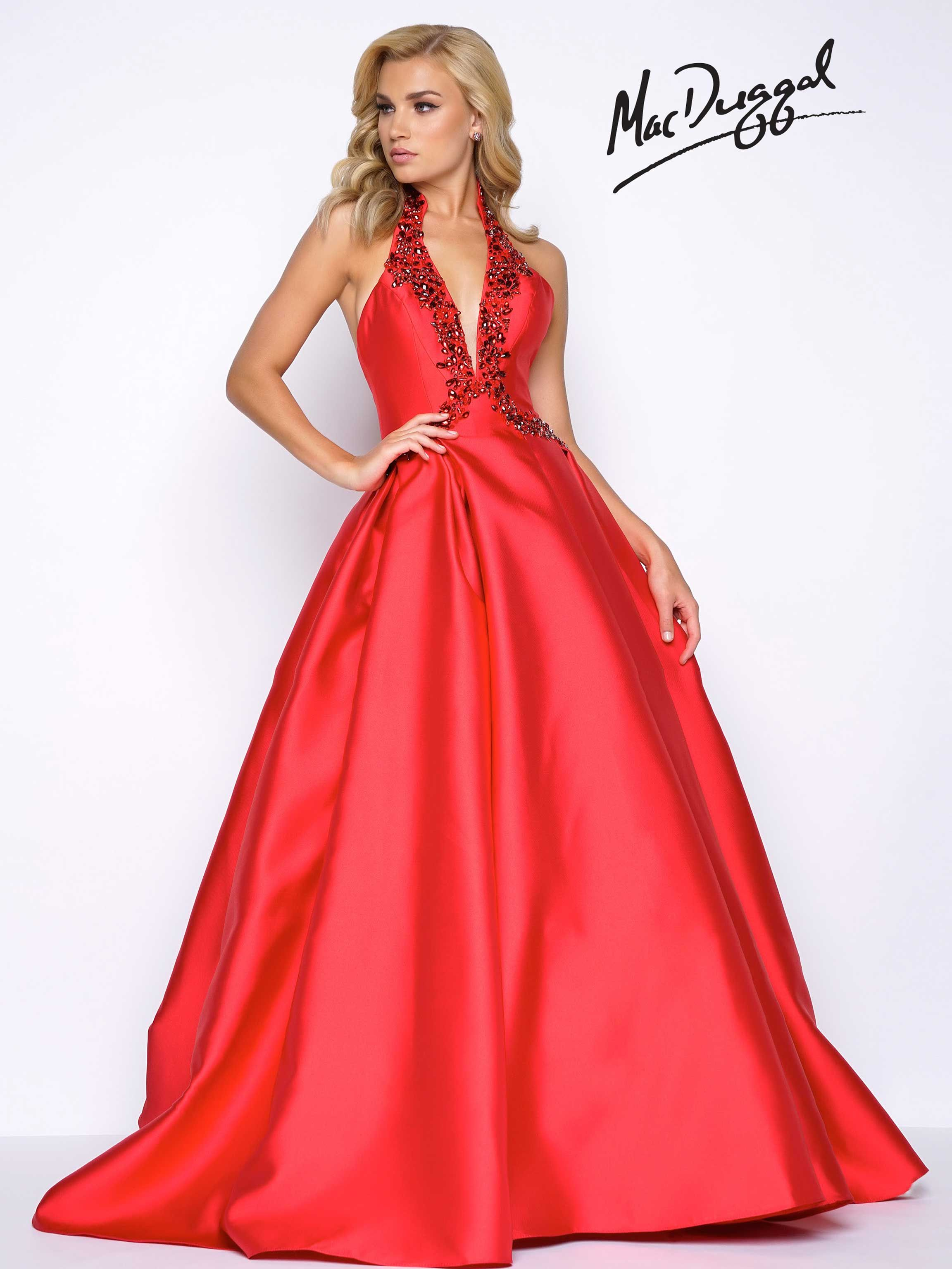 Halter neck, princess seam, fit and flare ball gown prom dress with ...