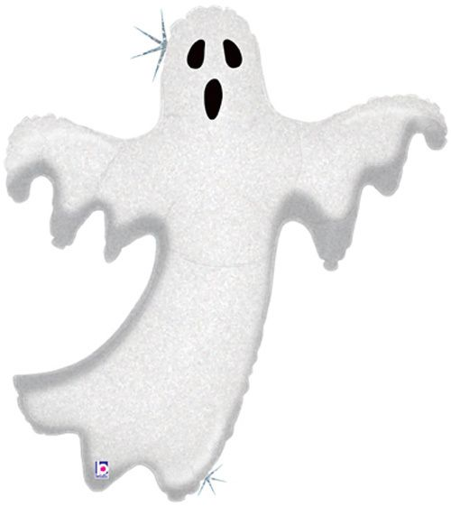"Single Source Party Supply - 38"" Holographic Glimmering Ghost Halloween Shape Mylar Foil Balloon"