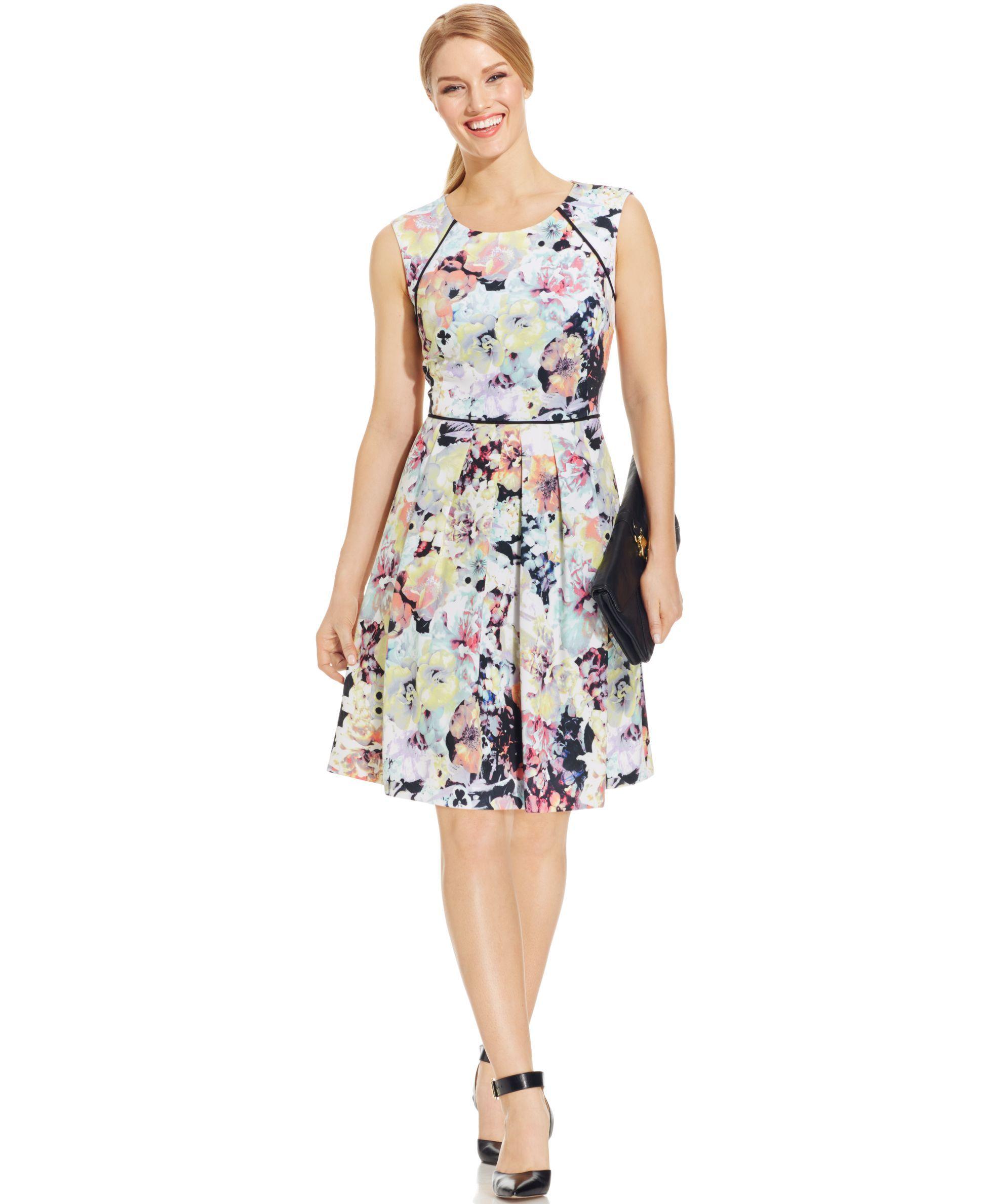 Tahari asl floralprint pleated scuba dress products pinterest