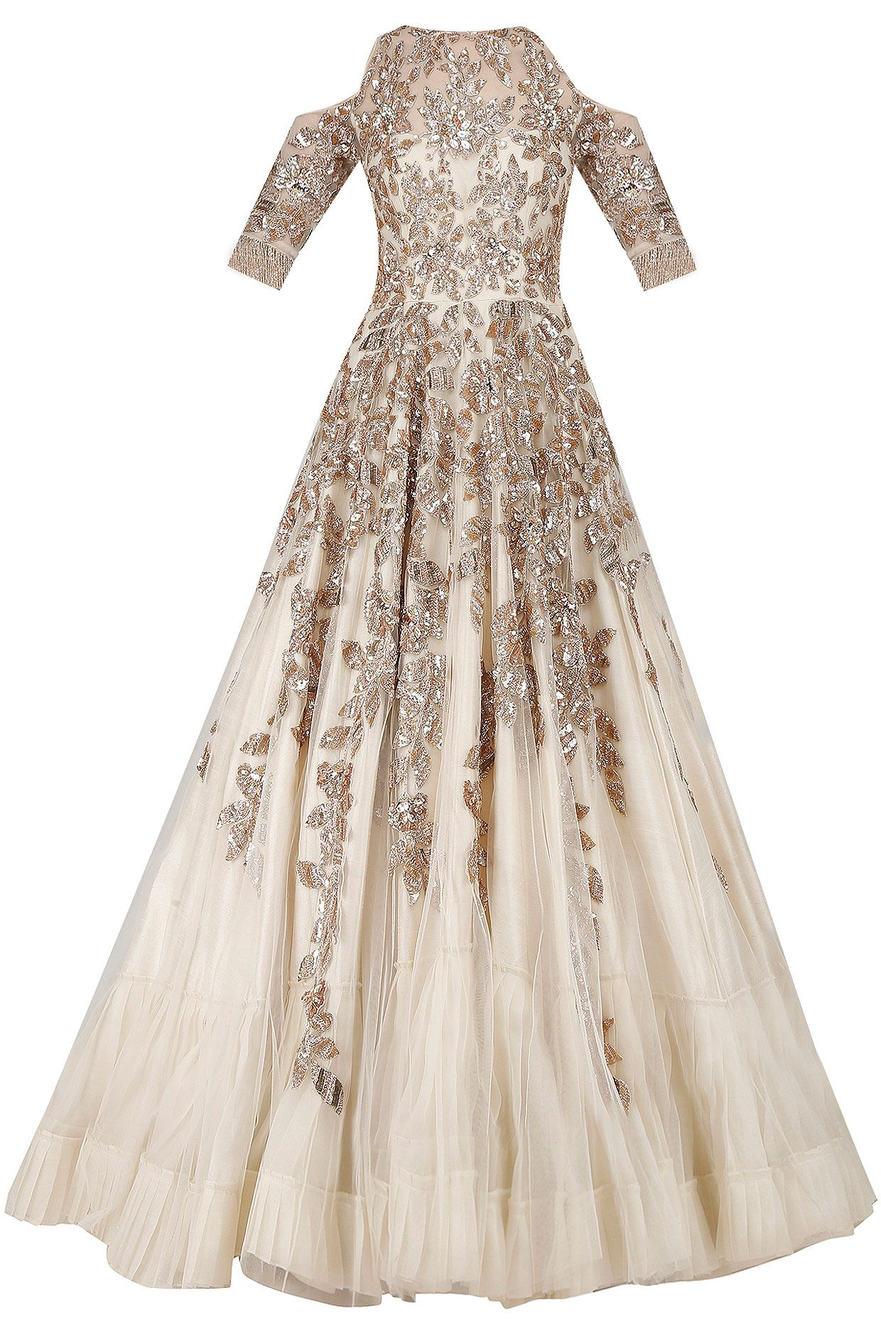 Ivory and gold sequins embroidered cold shoulder gown available only ...