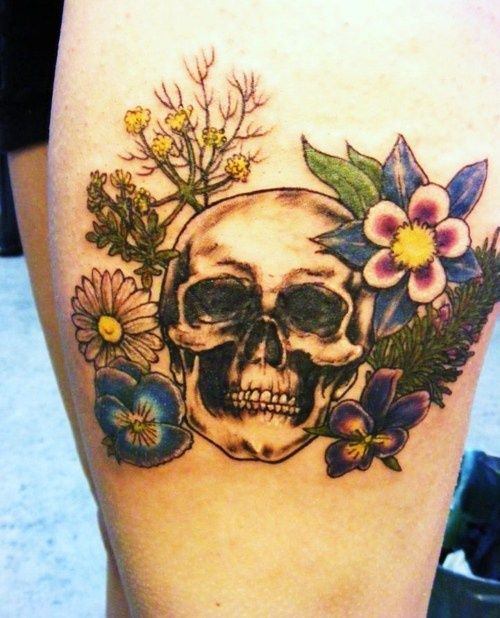 This is my tattoo inspired by Ophelia, my favourite Shakespearean character. I chose to get a skull, representing her death (and a momento mori for me) and the meaningful flowers she mentions before she dies: rosemary, rue, pansy,columbine, English daisy, violet and fennel.    Done by Heather Myles, Inksmith Tattoos, CAN.