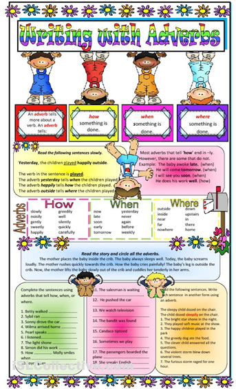 adverbs of time place and manner worksheets (With images
