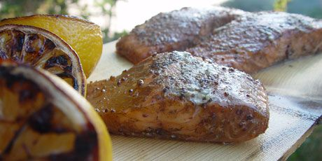 Photo of Maple Planked Salmon with Grilled Lemon Recipes | Food Network Canada