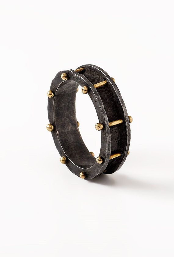 Black men ring band silver and gold ring for men black by springit