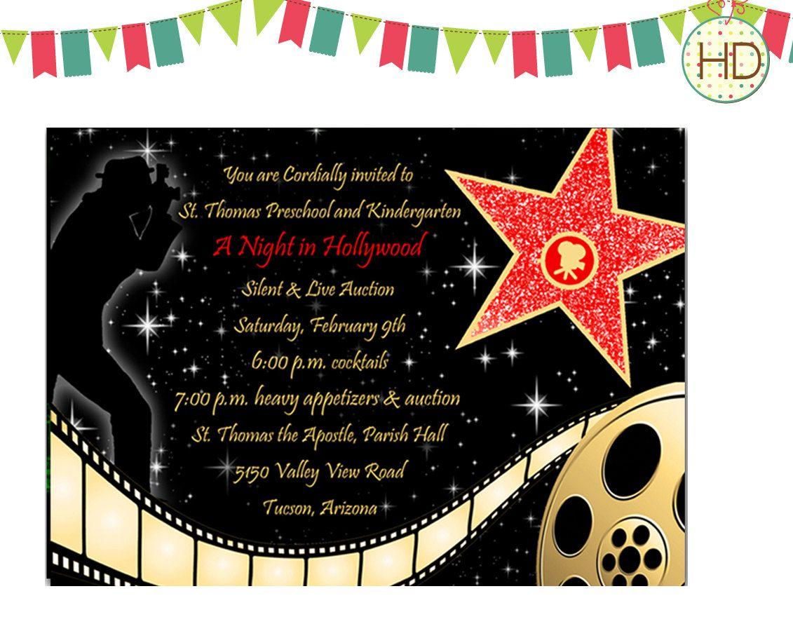 Hollywood Theme Party Invitations | red carpet centerpiece ...
