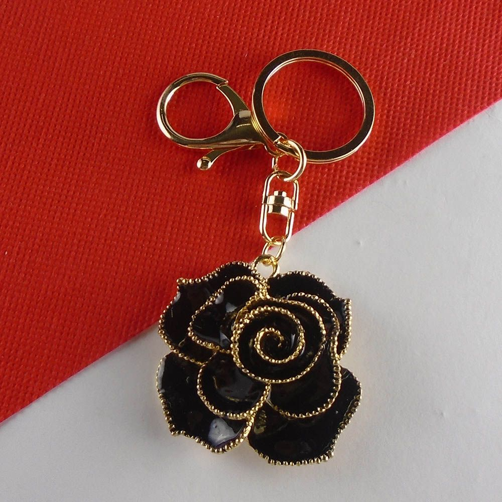 Roses Flower Heart Type Key Chain Bag Purse Charm Ring Crystals Holder Keychain