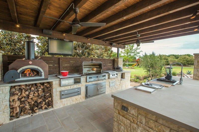 Viking Outdoor Kitchen Wooden Ceiling Fireplace Tv Countertop Faucet Oven Fridge Appliances Stainless Diy Outdoor Kitchen Patio Kitchen Outdoor Kitchen Design