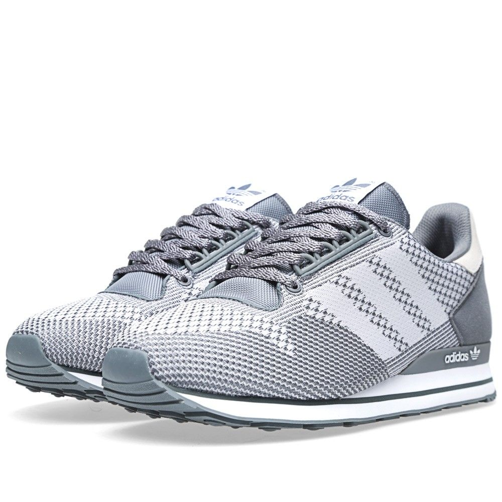 Mens Adidas Originals ZX 500 and Weave Sneakers in Medium lead and Run White