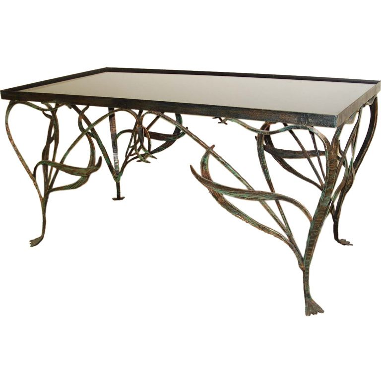 Art Nouveau Style Wrought Iron Coffee Table From A Unique