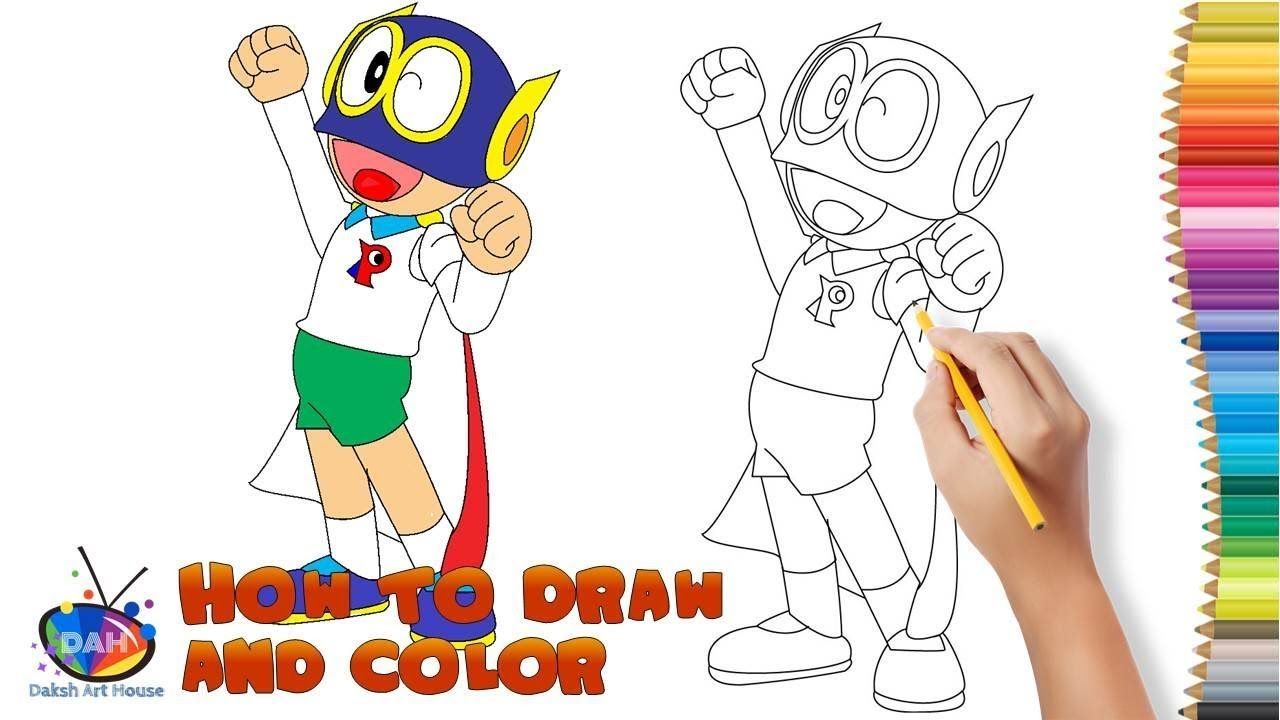 How to Draw & Colour Perman Cartoon Step by Step | Kids Drawing ...