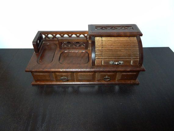 Roll Top Mens Valet Mans Jewelry Dresser Box Vintage Organizer
