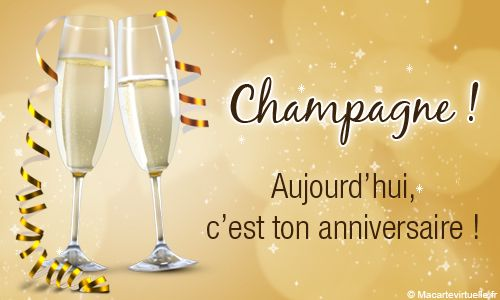 Carte anniversaire champagne carte anniversaire for Cocktail 40 ans
