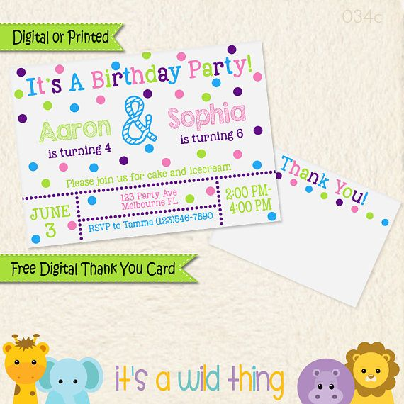 Brother Sister Combined Birthday Party Invitation Siblings Joint Ideas