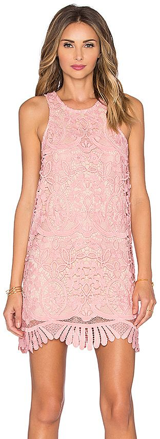Lovers + Friends x REVOLVE Baby Pink Caspian Shift Dress with delicate lace allover and a scalloped hem. Love this look for Valentine's Day.